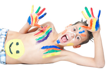 boy painting with colors isolated on white background