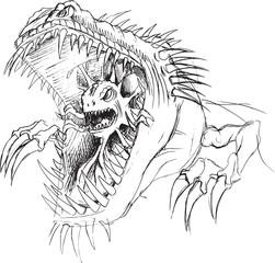 Alien Parasite Monster Sketch Vector Illustration Art