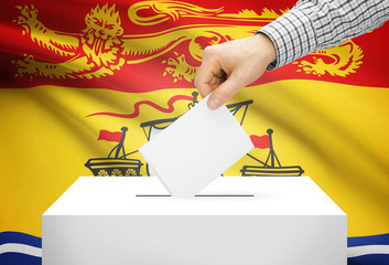 Ballot box with national flag on background - New Brunswick