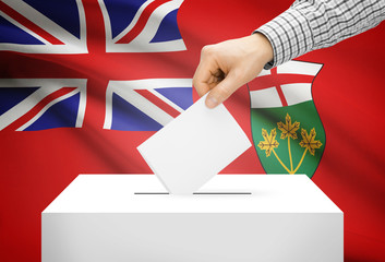Ballot box with national flag on background - Ontario