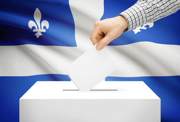 Ballot box with national flag on background - Quebec