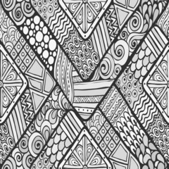 Tribal doddle rhombus seamless background.