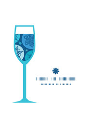 Vector round snowflakes wine glass silhouette pattern frame