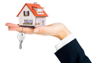 give house and key - concept of real estate purchase