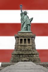 Estatua de la Libertad Fondo Bandera Estados Unidos