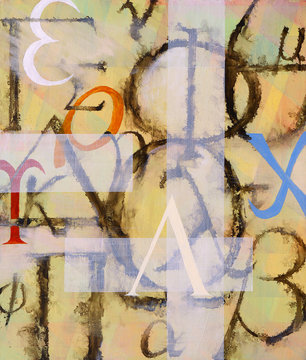 An abstract painting containing greek letters