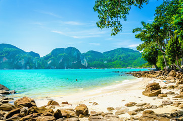 Exotic beach with  white sand in the background, South Asia