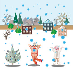 Girls and snowfall.