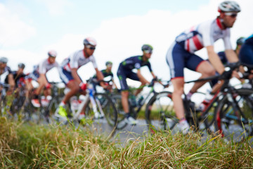 Zelfklevend Fotobehang Fietsen Abstract View Of Competitors In Cycle Race