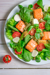Salad with salmon and fresh vegetables