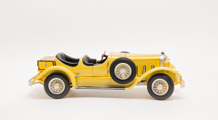 Closeup view of retro vintage isolated classic car