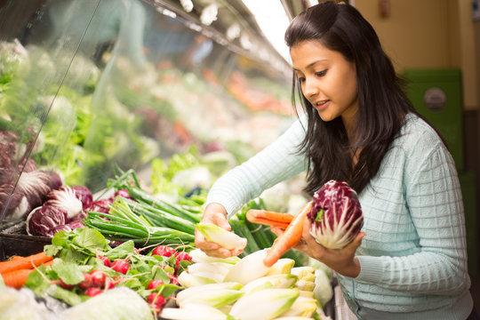 Closeup portrait woman grocery shopping