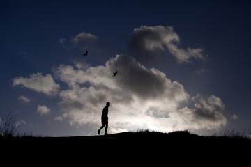sky human jogging silhouette sunset way