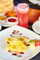 Balinese banana pancake and watermelon juice