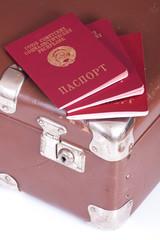Passport auf einem alten Koffer