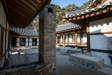 Ojukheon courtyard and house view.