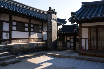 seongyojang taken in winter. Located in Gangneung, South Korea.
