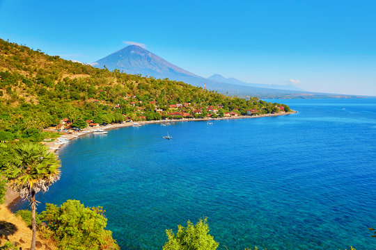 View of Agung volcano from Amed village, Bali