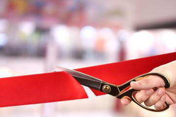 Grand opening, cutting red ribbon Fototapete