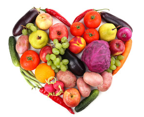 Fresh organic vegetables and fruits in shape of heart, isolated