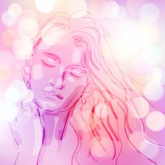 Obraz śpiąca kobieta wektor - fototapety do salonu