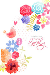 Cute card with birds and flowers watercolor