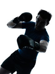 man exercising boxing boxer posture silhouette