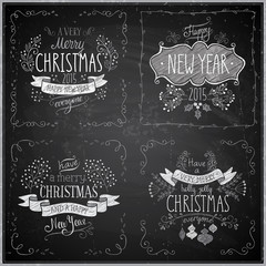 Christmas hand drawn card set - Chalkboard.