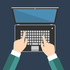 Businessman hand on laptop keyboard