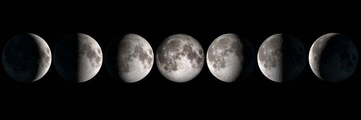 Deurstickers Heelal Moon phases panoramic collage, elements of this image are provided by NASA