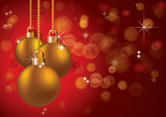 christmas background with balls, illustration