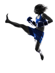 Fototapete - woman boxer boxing kickboxing silhouette isolated