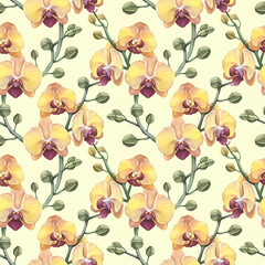 Vintage seamless pattern with watercolor orchid flowers