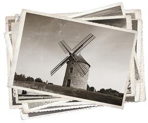 Fototapete - Black and white photos, Vintage photos Old windmill
