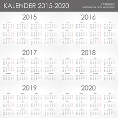 Kalender 2015-2020 Jahresplaner Jahreskalender Taschenkalender
