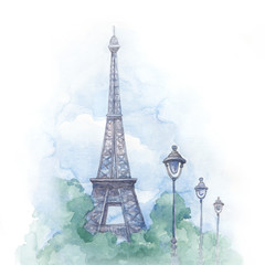 Watercolor illustration of eiffel tower