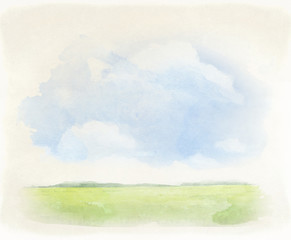 Watercolor illustration of a summer landscape