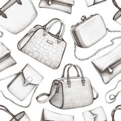 Handbag illustrations. Seamless pattern