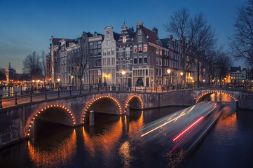 Poster Amsterdam Amsterdam, Netherlands canals. Night view of Keizersgracht