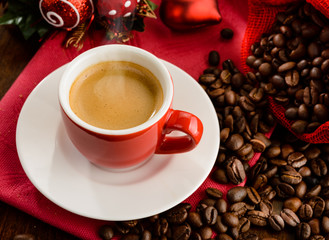 Espresso for Christmas breakfast , close-up