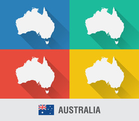 Wall Mural - Australia world map in flat style with 4 colors.