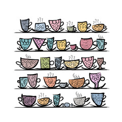 Ornate mugs on shelves, sketch for your design
