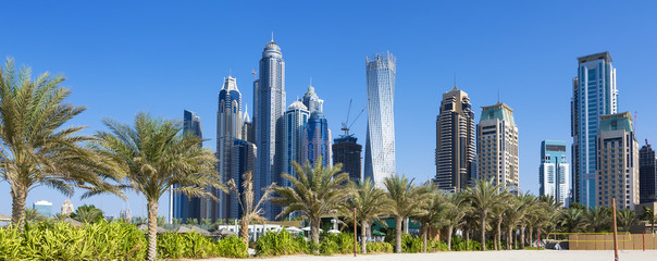 Panoramic view of skyscrapers and jumeirah beach