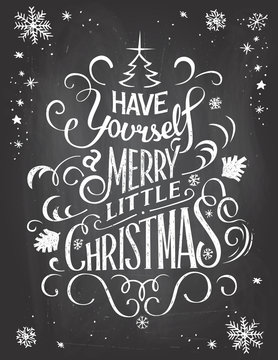 Vintage Christmas greetings on chalkboard