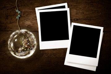 Christmas with two photo frames rustic bakground