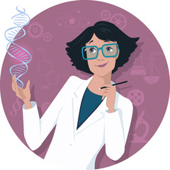 Female scientist with a DNA molecule