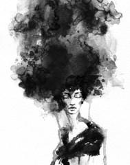 Wall Mural - Beautiful woman face. watercolor illustration