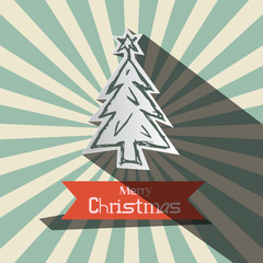 Retro Christmas Vector Card with Paper Tree