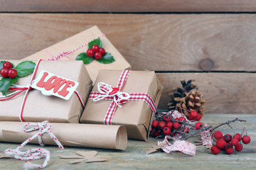 Beautiful Christmas composition with handmade gifts