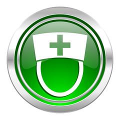 nurse icon, green button, hospital sign